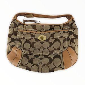 COACH Tan Signature Hobo Shoulder Bag Purse